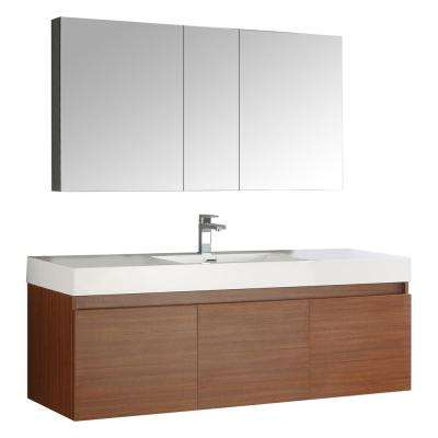Mezzo 59 in. Vanity in Teak with Acrylic Vanity Top in White with White Basin and Mirrored Medicine Cabinet