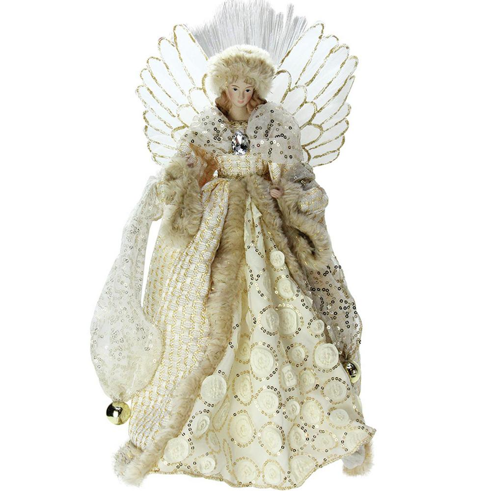 16 in. Lighted B/O Fiber Optic Angel in Golden Sequined G...