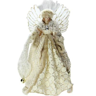 16 in. Lighted B/O Fiber Optic Angel in Golden Sequined Gown Christmas Tree Topper