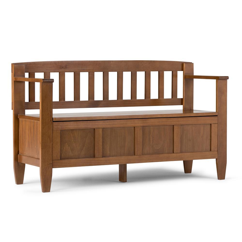 Simply Home Brooklyn Medium Saddle Brown Storage Bench