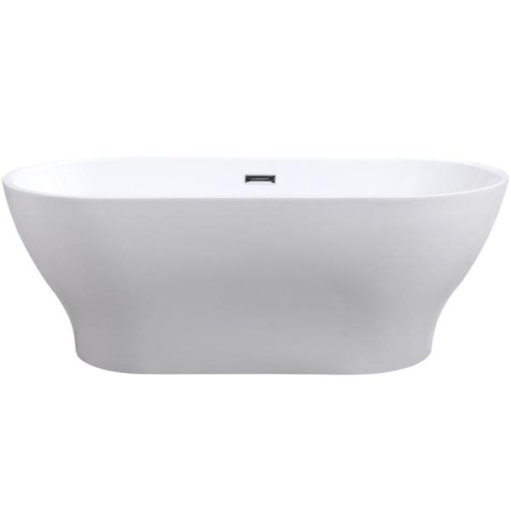 67 in. Acrylic Center Drain Oval Flat Bottom Freestanding Bathtub in White