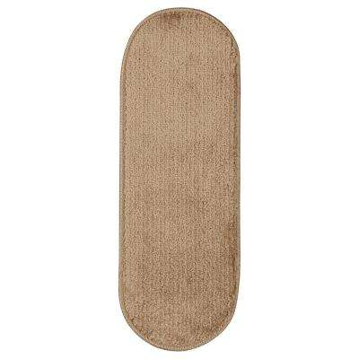 Softy Collection Beige 9 in. x 26 in. Rubber Back Oval Stair Tread Cover (Set of 7)