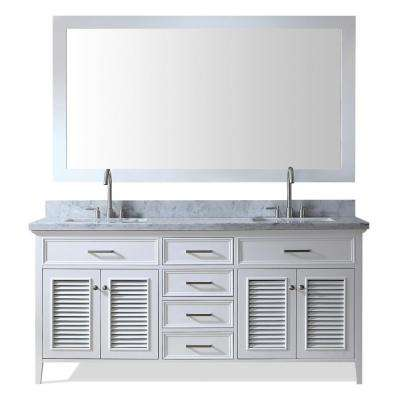 Kensington 73 in. Vanity in White with Marble Vanity Top in Carrara White with White Basin and Mirror