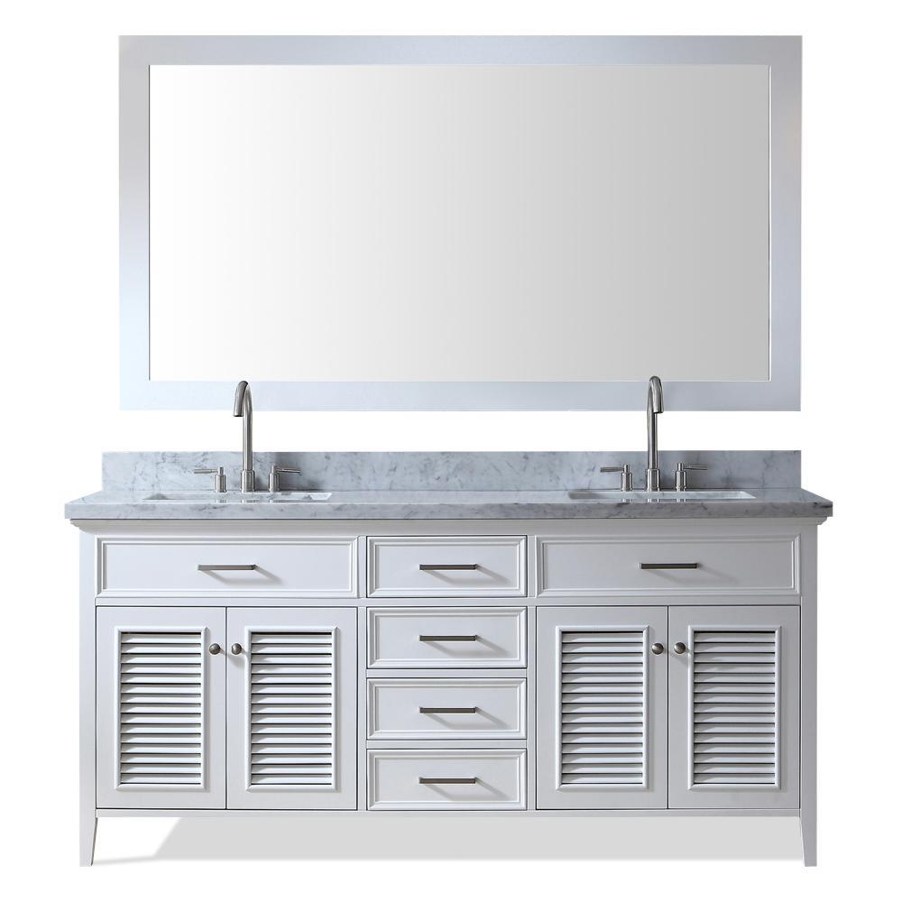 Kensington 73 in. Bath Vanity in White with Marble Vanity Top in Carrara White with White Basin and Mirror