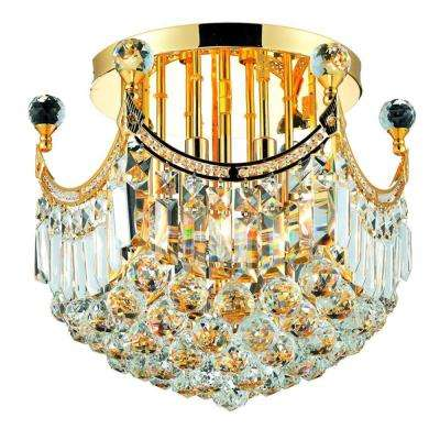 6-Light Gold Flushmount with Clear Crystal