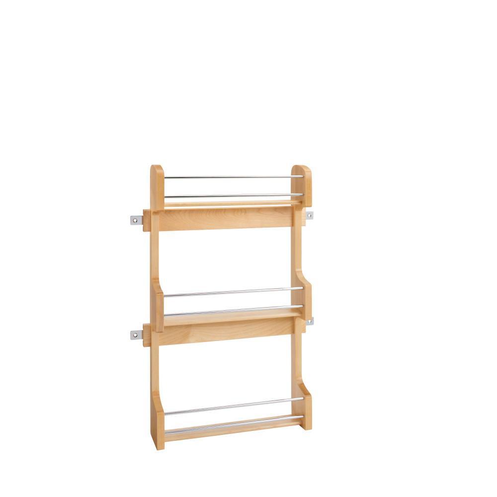 21.5 in. H x 13.5 in. W x 3.12 in. D Medium Cabinet Door Mount Wood 3-Shelf Spice Rack
