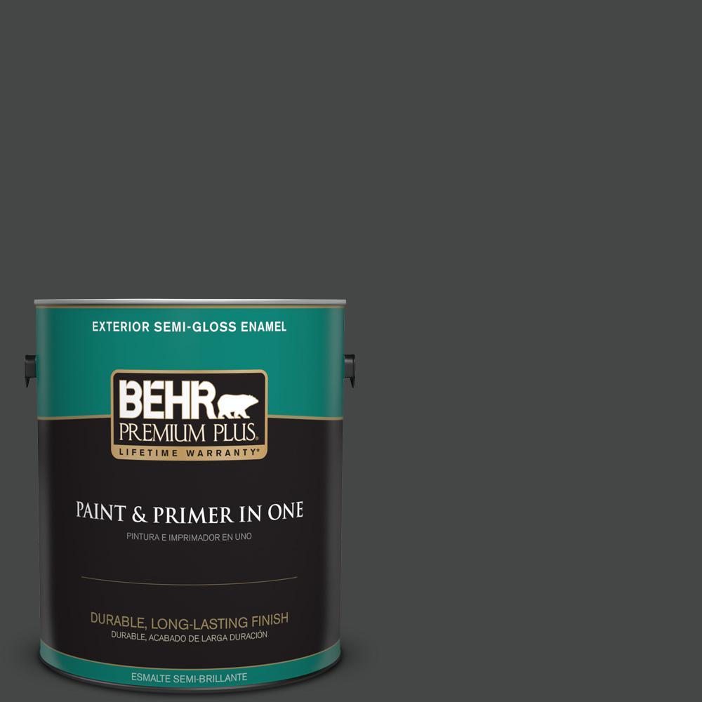 1 gal. #PPU26-23 Black Boudoir Semi-Gloss Enamel Exterior Paint