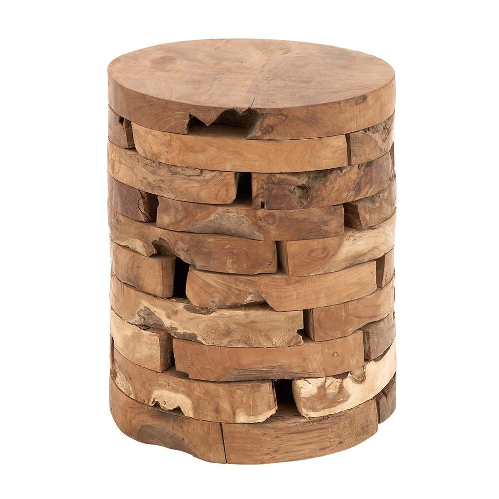 Litton Lane 18 in. Natural Brown Teak Wood Stool-38410 - The Home Depot