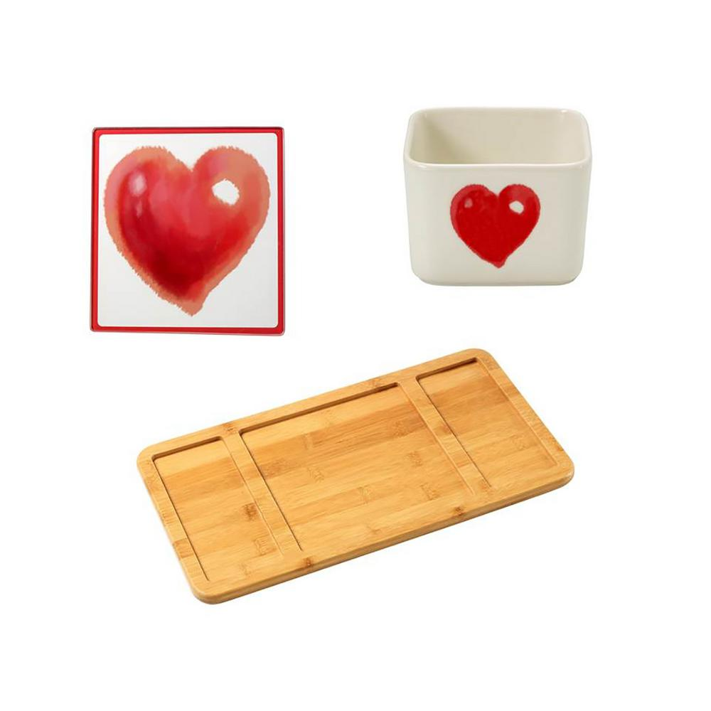 Precious Moments Bamboo Cheese Board, Valentine's Day Glass Cutting Board and Square Porcelain Valentine's Day Appetizer Bowl, Multi Food tastes better when its served with style, Weve made it easy to add elegance to your holiday parties by pairing an eco-friendly bamboo serving tray, a practical and pretty dip bowl as well as a matching glass cutting board designed to be used on its own or with our cleverly designed holiday serving sets. This group of items would make a beautiful wedding gift and a unique hostess gift, or a gift just because. The dip bowl is crafted in porcelain. Dishwasher and microwave safe. Approximately 2.25 in. high. Holds approximately 7 oz. The serving tray is crafted of bamboo. Spot clean only. Approximately 15.5 x 8.25 in. The tray insert/cutting board is crafted of glass. Hand wash only. Approximately 7 in. x 7 in. Color: Multi.