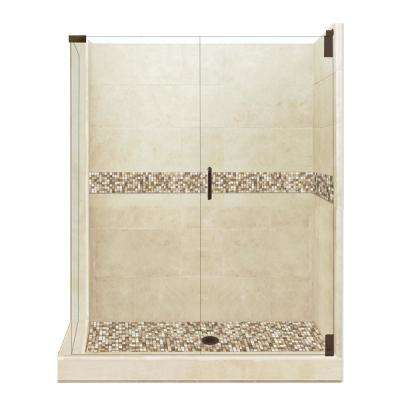 Roma Grand Hinged 32 in. x 36 in. x 80 in. Right-Hand Corner Shower Kit in Brown Sugar and Old Bronze Hardware