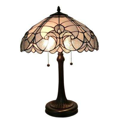 23 in. Tiffany Style White Table Lamp