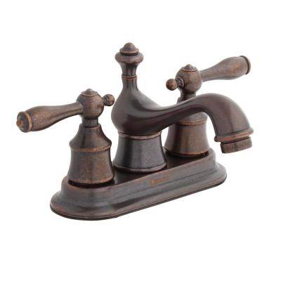 Estates 4 in. Centerset 2-Handle Low-Arc Bathroom Faucet with Pop-Up Assembly in Heritage Bronze