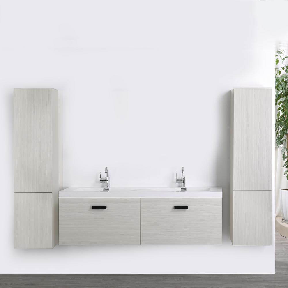 Streamline 63 in. W x 18.2 in. H Bath Vanity in Gray with Resin Vanity Top in White with White Basin