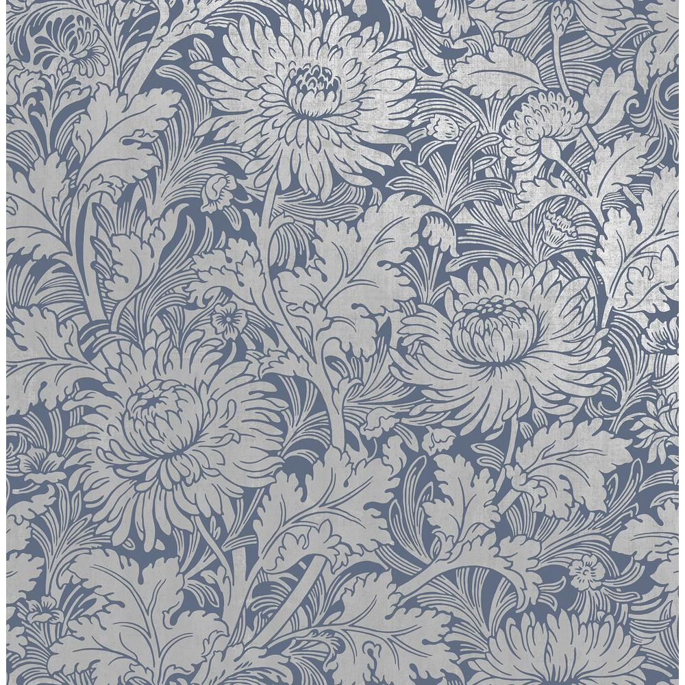 Fine Decor Zinnia Blue Floral Wallpaper Sample 2900 42532sam The