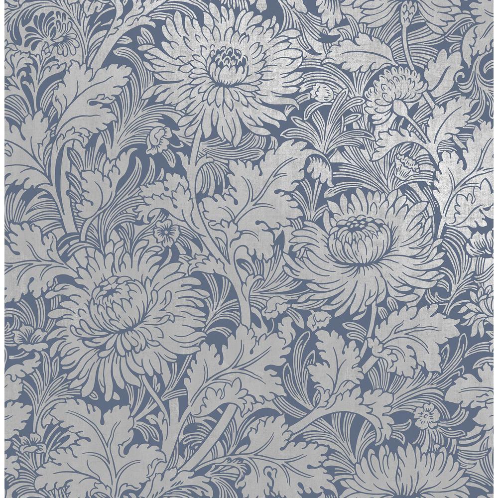 Zinnia Blue Floral Wallpaper Sample