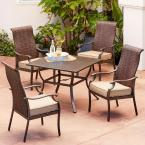 Rhone Valley 5-Piece Wicker Outdoor Dining Set with Tan Cushions