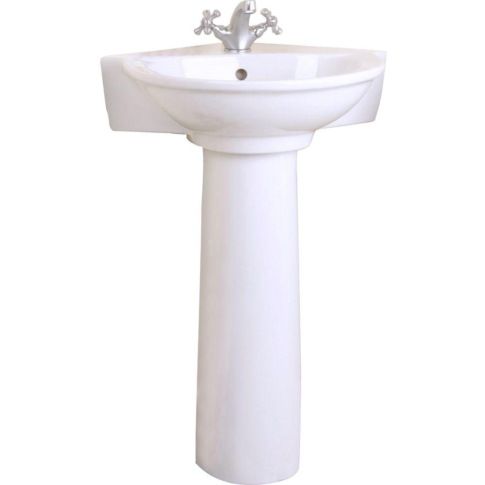 Pegasus Evolution Corner Pedestal Combo Bathroom Sink in White. Pegasus Evolution Corner Pedestal Combo Bathroom Sink in White 3