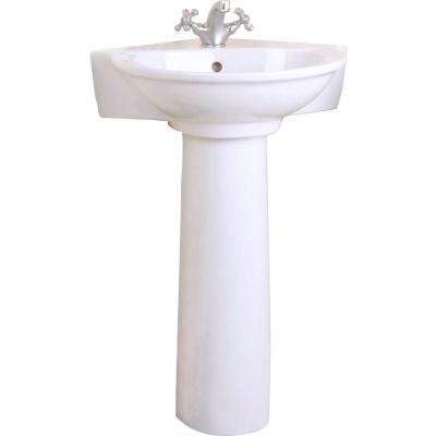 Evolution Corner Pedestal Combo Bathroom Sink in White