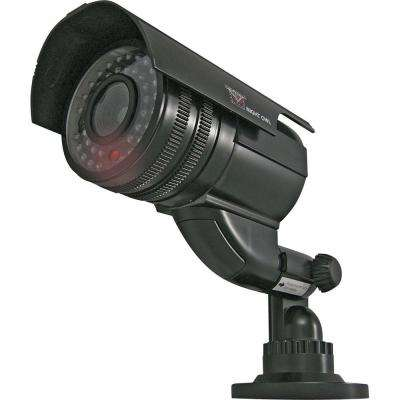 Wireless Indoor or Outdoor Decoy Bullet Dummy Surveillance Camera with Flashing LED Light in Black