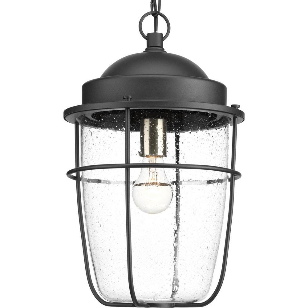 Progress Lighting Holcombe Collection Black 1-Light Outdoor Hanging Lantern