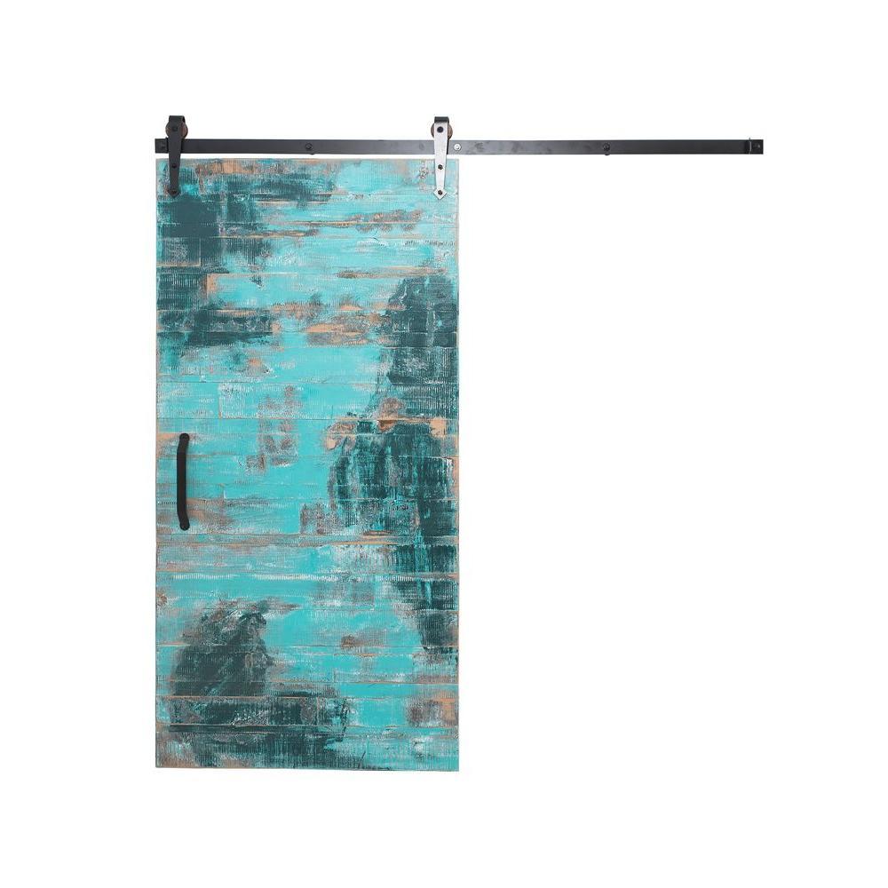 42 in. x 84 in. Rustica Reclaimed Aqua Wood Barn Door with Arrow Sliding Door Hardware Kit