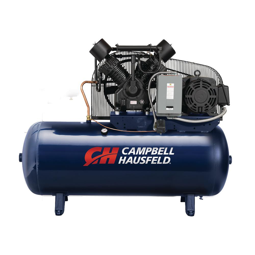 120 Gal. Horizontal 52.4CFM 15HP 208-230/460-Volt 2-Stage Stationary Electric