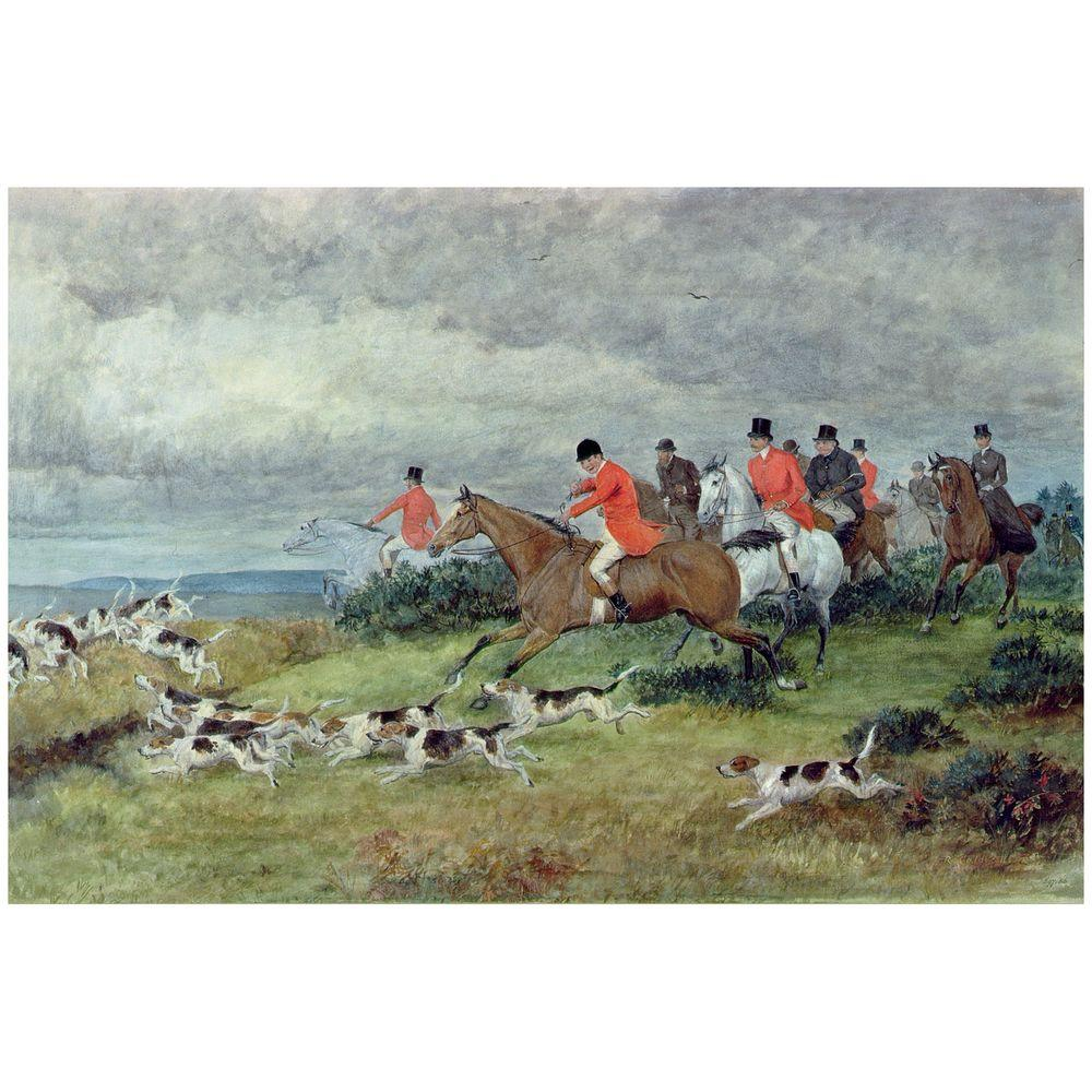 22 in. x 32 in. Fox Hunting in Surrey Canvas Art
