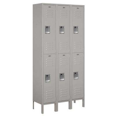 62000 Series 36 in. W x 78 in. H x 12 in. D 2-Tier Metal Locker Unassembled in Gray