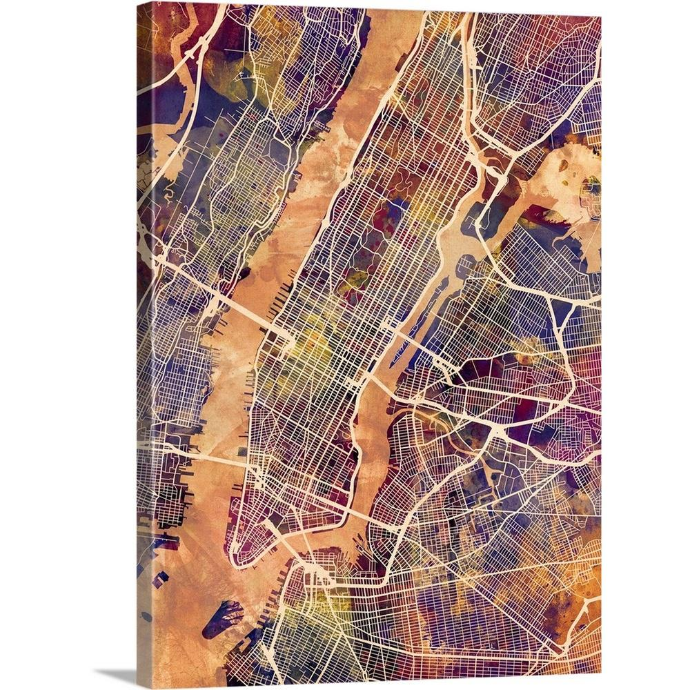 Street Map Of Manhattan Nyc.Greatbigcanvas 30 In X 40 In New York City Street Map By Michael