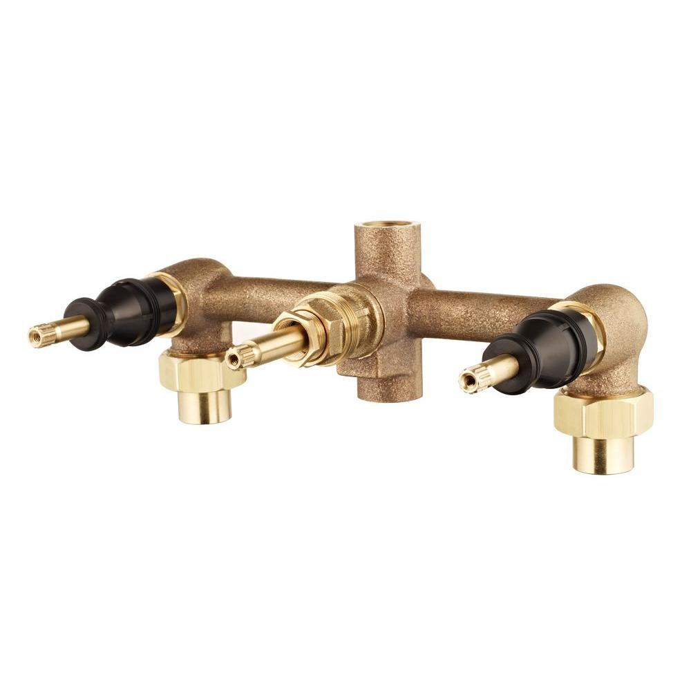 Pfister 8 in. Fixed Brass 3-Handle Valve Body-01-31XA - The Home Depot