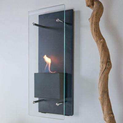 Cannello 11.75 in. Wall-Mount Decorative Bio-Ethanol Fireplace in Matte Black