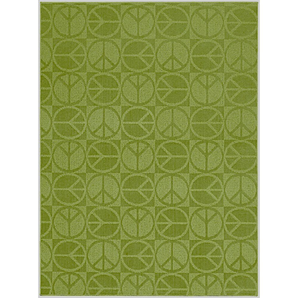 Lime Green Overdyed Rug: Garland Rug Large Peace Lime 5 Ft. X 7 Ft. Area Rug-CL-17