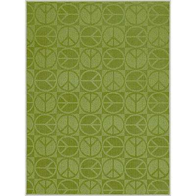 Large Peace Lime 5 ft. x 7 ft. Area Rug