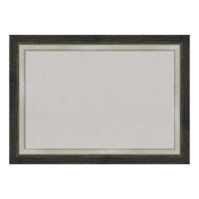 Brushed Metallic Wood Framed Grey Cork Memo Board