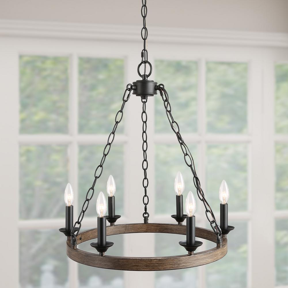 Sombre 6-Light Black Candle Chandelier