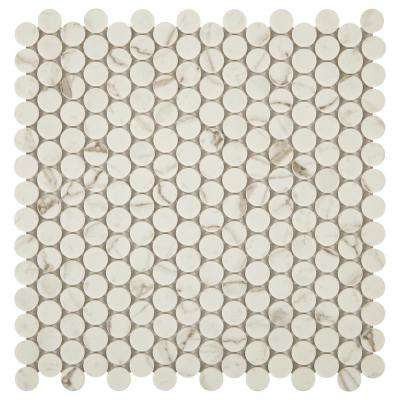 Decor Accents 12 in. x 12 in. x 6.35 mm Calacatta Stone and Glass Mosaic Floor and Wall Tile (1 sq. ft./ piece)