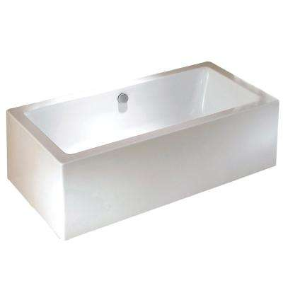 Contemporary 5.6 ft. Acrylic Flatbottom Rectangular Freestanding Bathtub in White