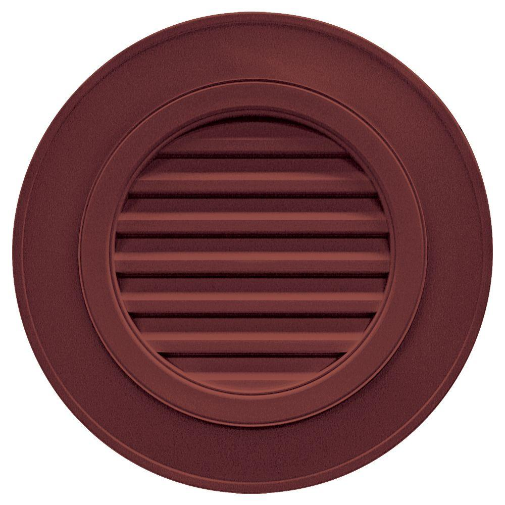 Builders Edge 28 in. Round Gable Vent in Wineberry (without Keystones)