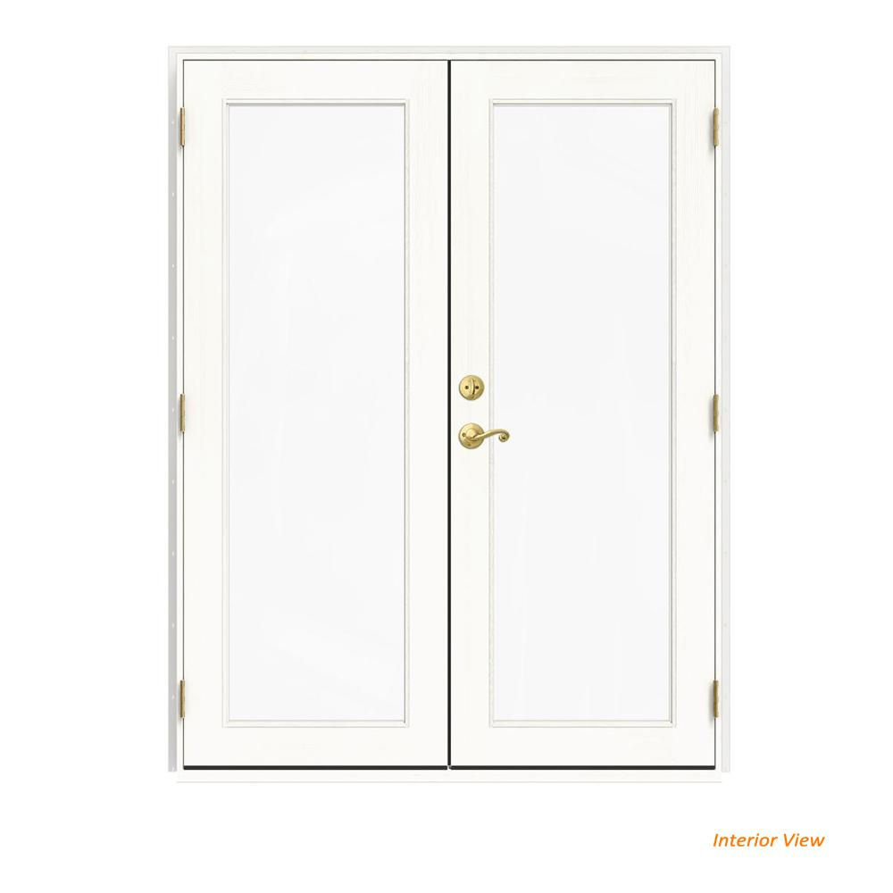 jeld wen 60 in x 80 in w 2500 white clad wood left hand full lite