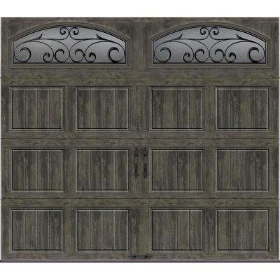 Gallery Collection 8 ft. x 7 ft. 6.5 R-Value Insulated Ultra-Grain Slate Garage Door with Decorative Window
