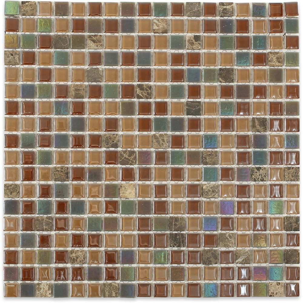 Capriccio Chioggia 11-3/4 in. x 11-3/4 in. x 8 mm Glass Floor and Wall Tile