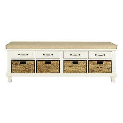 "Martin Ivory 61.5"" Shoe Storage Bench"