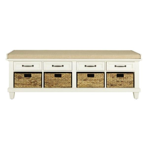 """Home Decorators Collection Martin Ivory 61.5"""" Shoe Storage Bench"""
