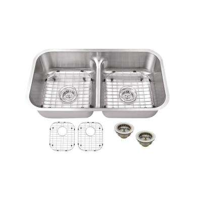 Undermount 18-Gauge Stainless Steel 32-1/2 in. 0-Hole 50/50 Double Bowl Kitchen Sink