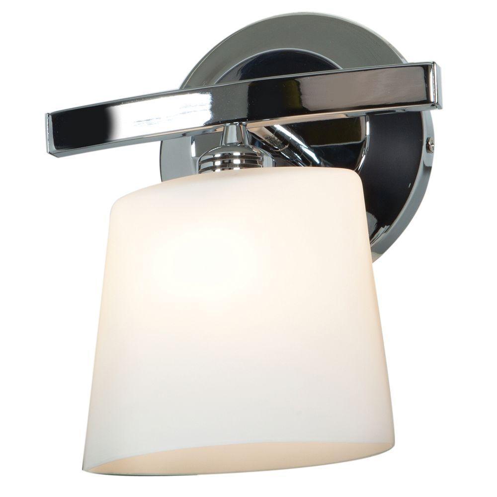 Sydney 1-Light Chrome Vanity Light with Opal Glass Shade
