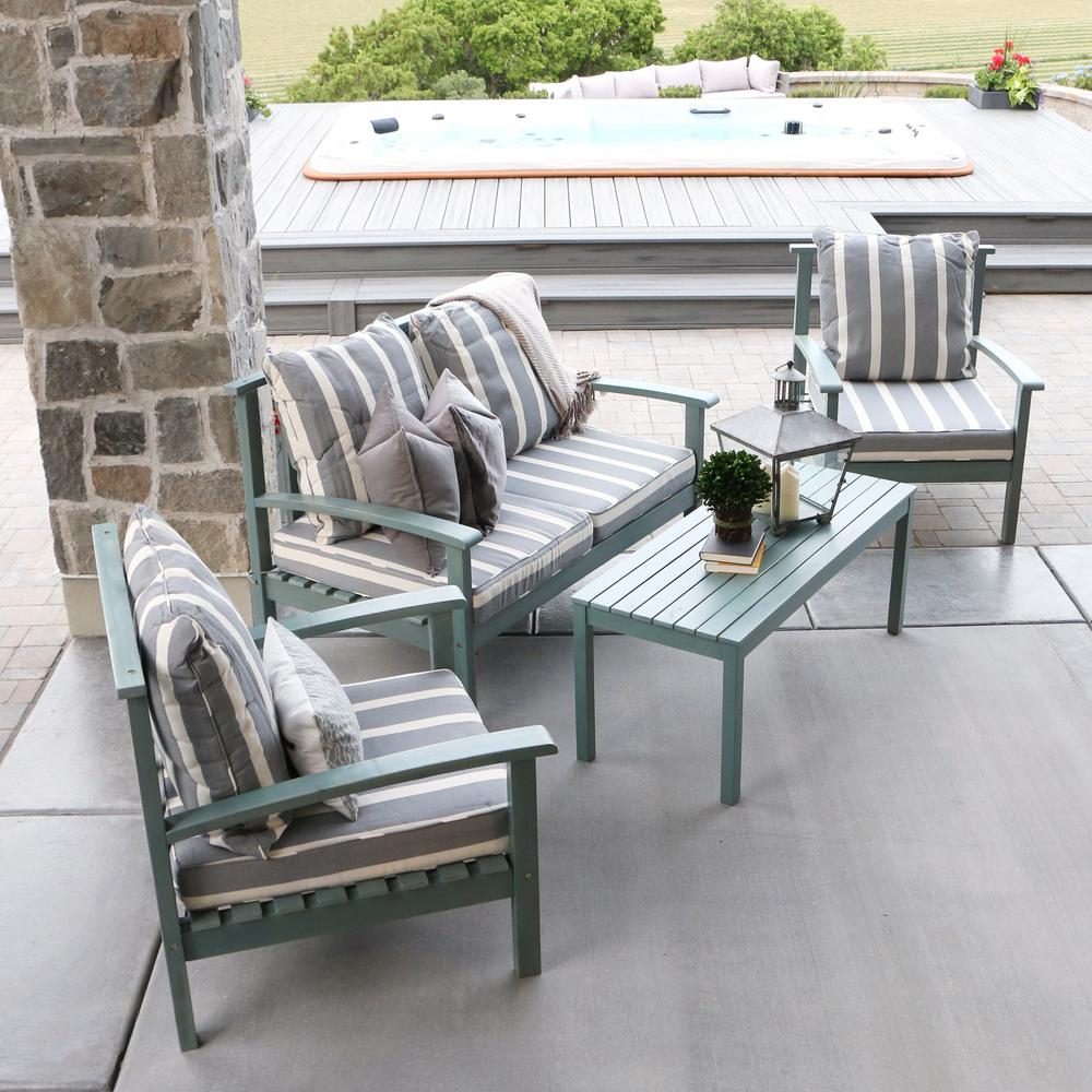 Walker Edison Furniture Company Ocean Grey Acacia Wood 4 Piece Patio  Conversation Set With Cushions