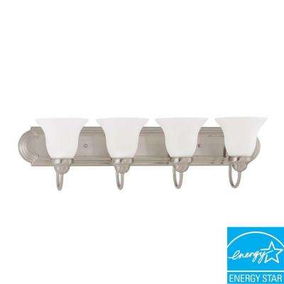 4-Light Brushed Nickel Fluorescent Wall Vanity Light