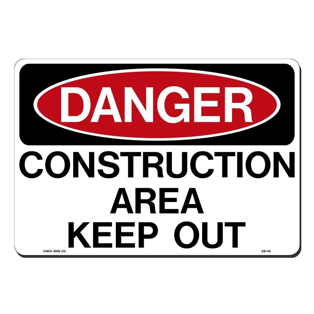 14 in. x 10 in. Danger Construction Sign Printed on More Durable, Thicker, Longer Lasting Styrene Plastic