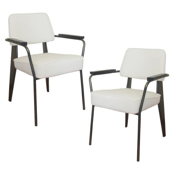 AmeriHome White Faux Leather Fauteuil Direction Accent Arm Chair (Set of 2)