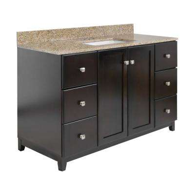 Shorewood RTA 49 in. x 22 in. x 37 in. Bath Vanity in Espresso with Golden Sand Granite Vanity Top with White Basin
